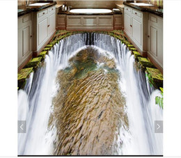 $enCountryForm.capitalKeyWord Australia - Self-adhesive Waterproof Flooring Wall Sticker Customized 3D wallpaper floor painting wall paper Waterfall Water Washroom bedroom 3D Floor