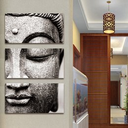 Large Buddha Canvas Prints NZ - Frameless Gray 3 Panel Modern Large Oil Style Buddha Wall Art Print on Canvas Home Living Room Decoration Wall Art wooden framed Y18102209