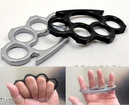 Steel Knuckle Free Shipping Canada - (Black or Silver)Thin Steel Brass knuckle dusters,Self Defense Personal Security Women and Men self-defense Pendant Free shipping