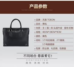 genuine leather work business bag Canada - Mens Real Leather Business Laptop Bag Briefcase Satchel Work Case + Free matching Men