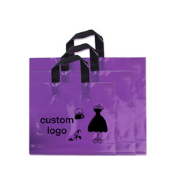 Discount printed resealable plastic bags - 45*45+10 500pcs Shopping Pe Resealable Packing prple Handle Printing logo Plastic Cloth Bag