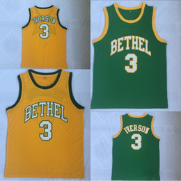cb94a88754d5 Allen Iverson  3 Bethel High School Basketball Jersey High Quanlity  Polyester Double Stiched Yellow Green IN STOCK