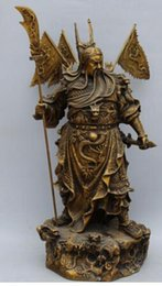 "$enCountryForm.capitalKeyWord NZ - 22"" Chinese Bronze 9 Dragons GuanGong Guan Gong Yu Hold Sword Knife Statue"