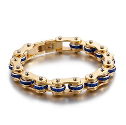 Chinese  Gold Stainless Steel Rhinestone Bracelet Men Women Biker Bicycle Motorcycle Chain Blue Red Black White Zircon Crystal Bracelets Lover Bangle manufacturers