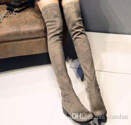 1e3cfa63c33 fashionville u691 genuine leather black tan matte stretch thigh high flat  boots fashion women winter vogue brand