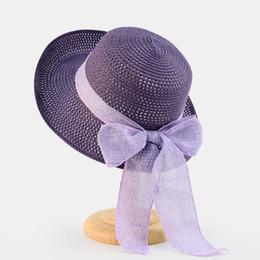Elegant Purple Hat Canada - purple Summer Sun Hat With Bowknot Women Wide Brim elegant Beach Hat Bohemia Lady Straw Hats ladies Beach shades Cap beige pink