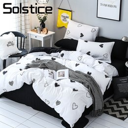Discount white gold heart ocean - Solstice Home Textile Heart White Duvet Cover Black Bed Sheet Pillowcase Girl Kid Adult Boy Bedding Set King Queen Full
