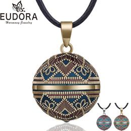 Pregnancy Chime Pendant Australia - EUDORA Harmony Ball Necklace Vintage Chime Bola Pendant for Women Fashion Jewelry Gift Mexican Pregnancy Ball 45'' Chain 3 Style