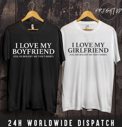 Free Shipping Valentines Gifts NZ - I Love My Girlfriend Boyfriend T Shirt Valentines Day Gift Present Couple Love Funny free shipping Unisex Casual gift