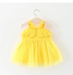 Wholesale Baby Girl Clothing Cute Angel Wings Fluffy Tutu Dress For NewBorn Girls Summer Princess Party Dresses Kids Vest Clothes