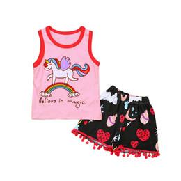 $enCountryForm.capitalKeyWord UK - New Baby Girls Horse Print Clothes Set Kids Cartoon Sleeveless Vest T-shirt Rainbow Shorts Tassel Pants Cotton Summer Outfit Suit 2018