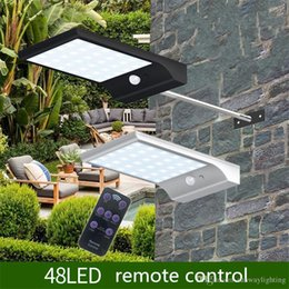 Discount lamp poles - LED Solar Powered Light 48LED 800LM IP65 Waterproof Motion Sensor Solar Wall Light Garden Lamp with Pole Remote Controll
