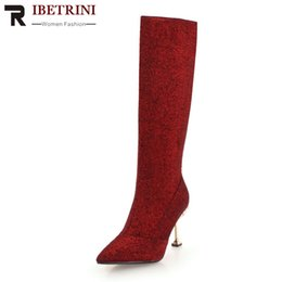 RIBETRINI New Sexy Shining Cover Long Fur Boots Pointed Toe Super Thin High  Heels Women Mid Calf Boots Shoes Woman 32-43 564caa81c733