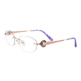 b59d610afa5 Drill Frame UK - Titanium Rimless Drilling Women Eyeglasses Gold Optical  Frame Fashionable Diamond Clear Glasses