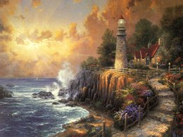 $enCountryForm.capitalKeyWord NZ - Thomas Kinkade Landscape Painting Reproduction Giclee HD Print on Canvas Lighthouse seascape sunrise Modern Wall Art Home Decoration HT219