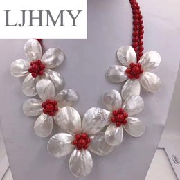 Discount flower necklace pearls crystals beads - LJHMY Crystal Beads Freshwater Pearl White Sea Shell Flower Necklace for Women Statement Bib Wedding Party Choker Neckla