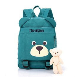 China 2018 New Cute Kids School Bags Cartoon Bear Dolls Canvas Backpack Mini Baby Toddler Book Bag Kindergarten Rucksacks supplier doll zippers suppliers