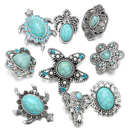 China Noosa Chunks Ginger Snap Jewelry Heart Turquoise 18mm Snap Button for DIY 18MM Snap Button Bracelet Earrings Ring cheap earrings clasps suppliers