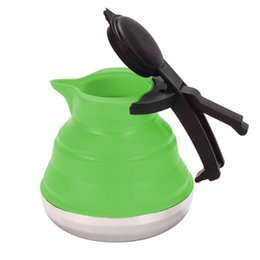 Foldable water bottle For outdoor online shopping - Silicone Foldable Water Bottle Heat Resistant Stainless Steel Bottom Teakettle Safety Space Saving Kettle For Outdoor Camping hg B