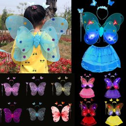 glow party clothes 2019 - Glowing Girls Boys Kids Butterfly Wings Fancy Dress Up Costume Headband Magic Wand Party Pretend Play 3pcs Outfits Cloth