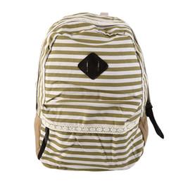 $enCountryForm.capitalKeyWord UK - Stripe Backpack Shoulder Women Lace Bag Canvass Leisure School Travel Fashion School Bags