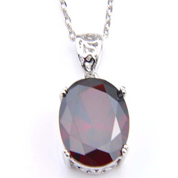 Chinese  LuckyShine 10 Pcs Lot 925 Sterling Silver Pendant Necklaces Women's Easter Colares Ruby Jewelry Indian Garnet Gemstone Pendant Jewelry manufacturers