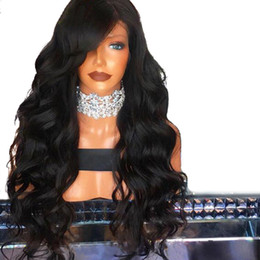 light pink hair wigs 2021 - Free Shipping 180% Density natural black lace front Wigs synthetic with baby hair Heat Resistant brazilian Wigs with bangs for Black Women