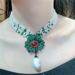 $enCountryForm.capitalKeyWord NZ - Hand knotted natural 4-5mm white freshwater baroque pearl clavicle chain women short multi - layer necklace national style