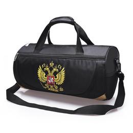 Discount emblem sports - Outdoor Travel Duffel Sport Bag With Russia Emblem Waterproof Fitness Gym Bag Sling Pack Handbag With Detachable Shoulde