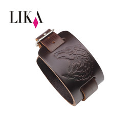 Wholesale LIKA Newest Men Genuine Leather Bracelet Fashion Wide Bangle Adjustable Buckle Wristband Jewelry Cool Black Brown Male Bracelets