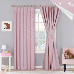 Discount purple room decor - 1 PC Cute Shiny Sliver Star Beige Pink Curtains Blackout Curtains For Living Room for Girl Room Decor