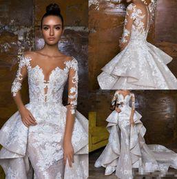 8d79500bdc68 2018 Gorgeous Mermaid Wedding Dresses With Detachable Train robe de mariée Lace  Bridal Gowns Long Sleeve Wedding Dress
