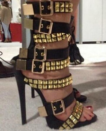 $enCountryForm.capitalKeyWord Canada - Summer 2018 New Women Black White Gold Square Rivets Big Buckle Stiletto Heel Mid Calf Short Sandals Boots Booties