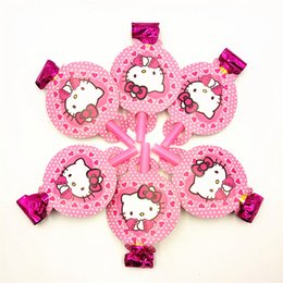 Discount theme party supplies wholesale - 12PCS lot Cartoon hello kitty Theme Blow out Party Noise Maker Baby Happy Birthday Party Supplies Toys Boy Favor Horn fo