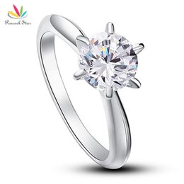 $enCountryForm.capitalKeyWord UK - Peacock Star 6 Claws Wedding Promise Engagement Ring Solitaire Solid 925 Sterling Silver Jewelry 1.25 Ct CFR8002 D18111306
