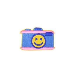 China Diy Cartoon Smiley Camera Patches for Cloth Badges Stripe Sewing Embroidered Apparel Accessories Patches for Glue Stitchwork Clothing Patch supplier camera glue suppliers