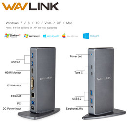 Wavlink Full HD 2048x1152 USB 3.0 Tipo-C USB-C Docking Station universale + RJ45 / DVI / HDMI / VGA / MIC / Porta audio DisplayLink PER LAPTOP on Sale