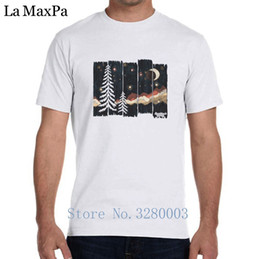 mountain tees Canada - Printing Fashion Men's T Shirt Starry Night In The Mountains Mens T-Shirt Spring Autumn Tee Shirt Men Letters Plus Size