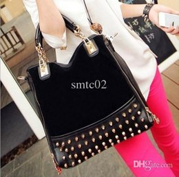 Discount new packaging products - Cheap Products new rivet package stitching flannel bag shoulder bag brand Rivet Studded Messenger