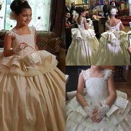 peplum flower kids 2019 - Vintage Girls Pageant Dress Princess Lace Sequins Peplum First Communion Dress Gown Kids Party Formal Wear Flower Girls