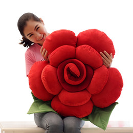 Chinese  giant colorful rose plush pillow creative sofa car bed cushion pillow flower toys for girl gift wedding decoration 35inch 90cm DY50500 manufacturers