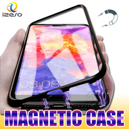 Magnet notes online shopping - Magnet Adsorption Case for Samsung Note S10 G S10e A50 A30 M10 Aluminum Metal Frame with Tempered Glass Back Coverage Magnetic Cases
