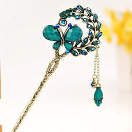 $enCountryForm.capitalKeyWord NZ - Women Elegant Butterfly Leaves Bobby Pin Fashion Hairpin Rhinestone Hair Stick