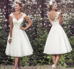$enCountryForm.capitalKeyWord NZ - Elegant Tea Length Short Wedding Dresses 2018 Cap Sleeves Appliques Lace Wedding Gowns Tulle V Neck Short Bridal Gowns Cheap