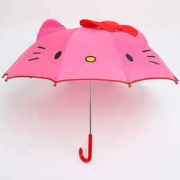 umbrella children cartoon NZ - Cartoon Hello Kitty Long-Handle Umbrella Foldable Children Kids Girls Cartoon Semi-Automatic Parasol Brithday Gift F2