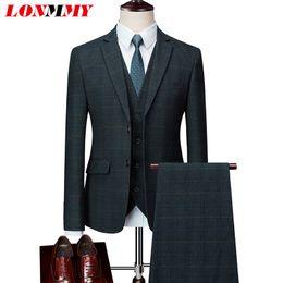 $enCountryForm.capitalKeyWord Australia - LONMMY Wedding suits for men Jacket+Pants+Vests 3 Pieces sets Plaid design Business Mens blazer jacket terno masculino men suits
