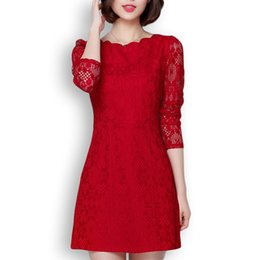 European and American women s long sleeved lace dress f081094583d3