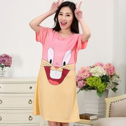 2eb094a56a Summer Cartoon Rabbit Pregnant Women Pajamas with Short Sleeves Thin Cotton  Nursing Nightgown Expectant Mother Dress Feeding