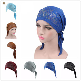 $enCountryForm.capitalKeyWord NZ - New Women Breathable drill Cotton Pre-Tied Scarf Turban Hat Chemo Beanies Caps Headwear For Cancer Hair Loss Accessories