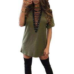 Sexy Army Shirts Australia - Women Shirts Dress Choker V -Neck Short Sleeve Loose Dresses 2018 Summer Casual Shirts Sexy Mini Dress Mujer Club GV529